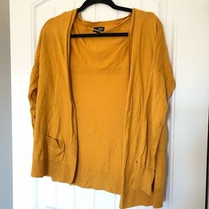 3/4 Sleeve Mustard Cardigan